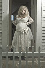 WT Bride Concept #7 (isayrock) Tags: wedding white beer trash bride dress cigarette humor pregnancy pregnant smoking belly maternity trailer redneck hillbilly