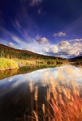Autumn Reflections (Wolfhorn) Tags: autumn sky motion reflection nature grass alaska clouds landscape pond wilderness
