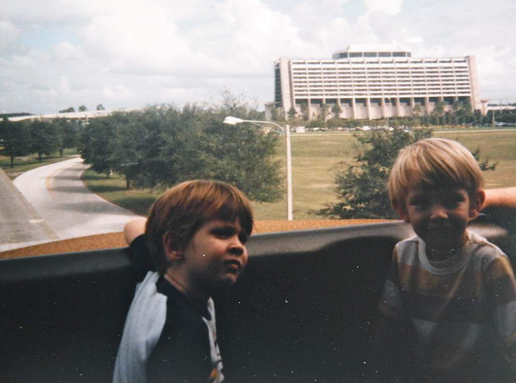 Steve and Sam on the monorail at Disney World