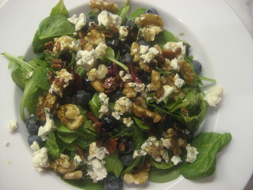 Blueberry, blue cheese, walnut salad with bacon-balsamic dressing