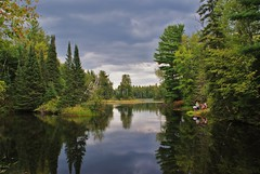 End-Of-Summer Reflections (chumlee10) Tags: trees people lake reflection nature water wisconsin children outdoors fishing dam sony mercer shay wi northwoods a300 ironcounty mygearandmepremium mygearandmebronze mygearandmesilver mygearandmegold mygearandmeplatinum mygearandmediamond fisherlakeroad shaydam