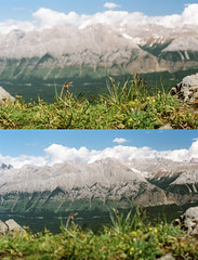 Double takes and daydreams (fields of bohemia) Tags: slr kananaskis 35mmfilm alberta canonae1p canadianrockies mtindefatigable fujipro160s 28mmcanonfdlens glimpseofsummer010