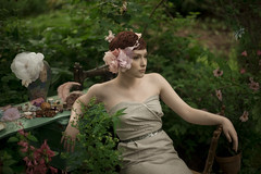 Wordless Wednesday (Jade M. Sheldon) Tags: flowers woman me nature beauty leaves photoshoot bokeh modeling magic feather pale redhead jade romantic recline collaboration whimsical sewingtable explored wordlesswednesday adornement twigsandhoney jademsheldon