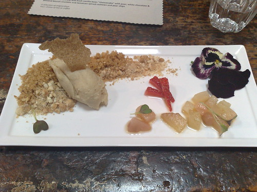 deconstructed cashew and fresh vanilla bean 'cheesecake' with pear, white chocolate & almond biscuit crumble and Jamaican spiced cashews and pear chips