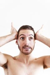 (Damien Cox) Tags: uk gay portrait selfportrait man male me face self ego myself beard bedroom eyes hands masculine teeth moi homo highkey homosexual queer scruff stubble armpits sigma30mmf14exdchsm i nikond40 damiencox snaptweet dcoxphotographycom
