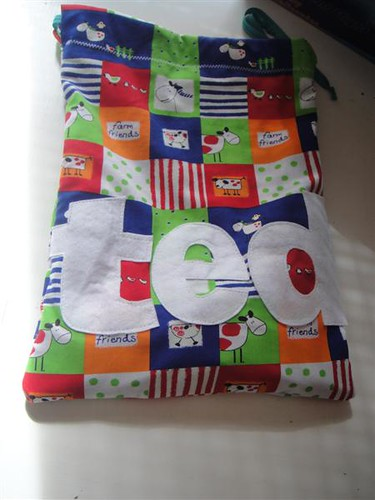 Childrens personalised upcycled toy bag