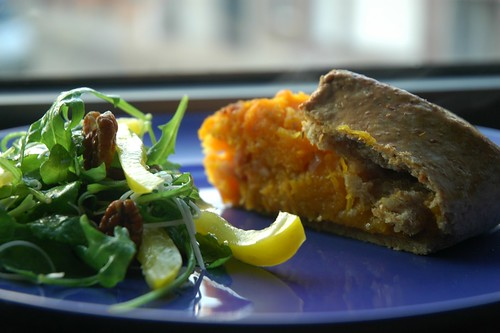 Butternut squash galette with an arugula salad