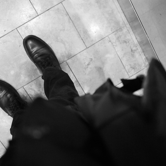 5 layers of black (plus b/w image) in the apt elevator before #walkingtoworktoday
