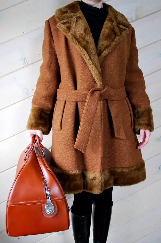 Vintage Coat with Faux Fur Trim by Miss B.R.