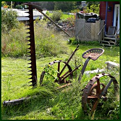 the gouger (haven't the slightest) Tags: ontario mill abandoned overgrown rural decay seat wheels neglected rusty equipment machinery spikes blades rustyandcrusty levers gouger quintewest stockdale hastingscounty