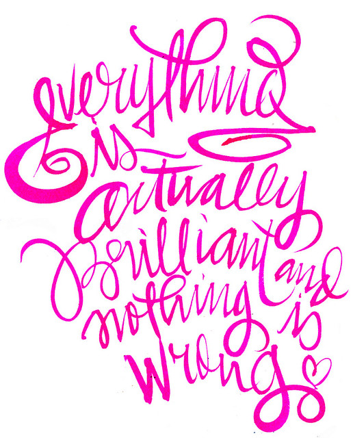 WRitings on the wall_brilliant, pink, typography, type, calligraphy, via lordbunn
