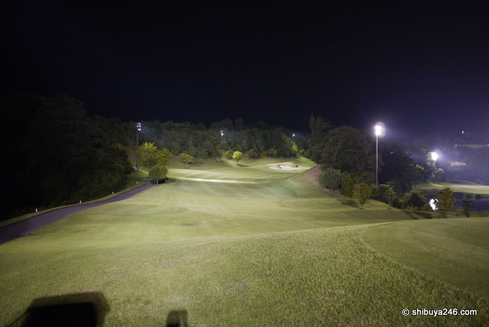 A nice turning hole with the lights doing a great job. It almost seems easier to hit the fairway at night with the danger out of your eyesight