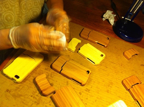 My mom finishing iPhone cases