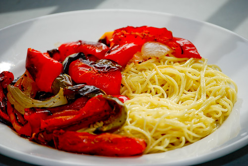 roasted vegetables and pasta