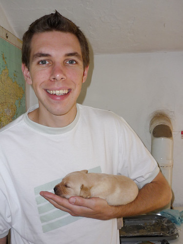 Me holding Lottie the puppy (aged 3 weeks)