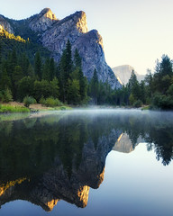 First Light on Three Brothers, Yosemite National Park (andrew c mace) Tags: california morning reflection river merced september yosemite yosemitenationalpark yosemitevalley mercedriver threebrothers photomatix blendedexposures colorefex nikoncapturenx nikond90 exposurefusion oracope