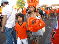Balloon crowns (shimmertje) Tags: world orange holland cup netherlands amsterdam fan football child mother son parent inflatable final crown 2010 headgear fanzone