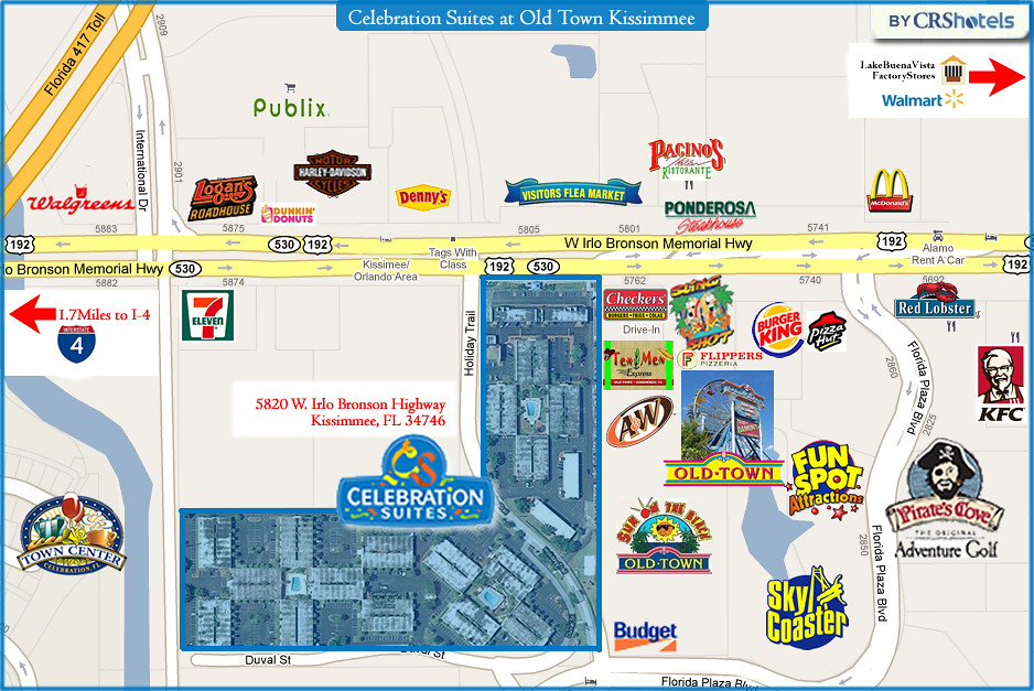 Celebration Suites At Old Town Kissimmee Area Map