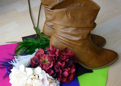 Boots, felt, flowers, and feathers