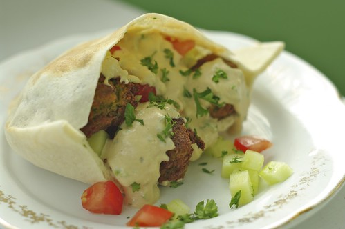Falafel and Pita with Tahini Sauce