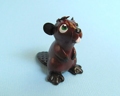 Beaver Sculpture (DragonsAndBeasties) Tags: sculpture brown cute statue swim woodland keychain teeth tail small chibi paddle charm beaver greeneyes polymerclay fimo gift tiny kawaii sculpey etsy custom figurine platypus phonecharm premo zipperpull ittybitty