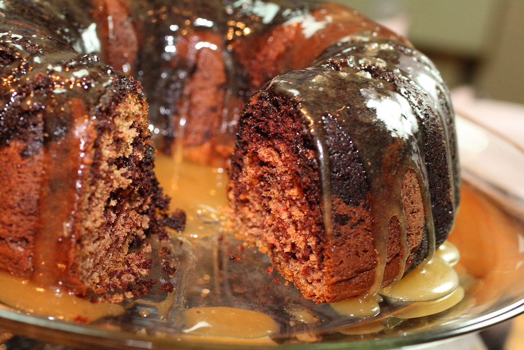 Marbled Chocolate and Peanut Butter Bundt Cake With Salted Caramel ...