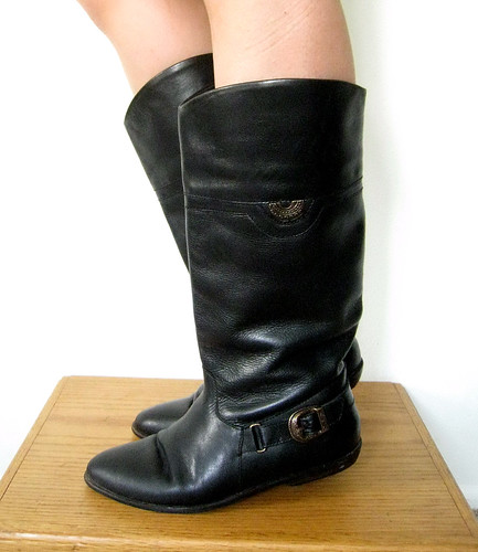 Vintage Black Leather Tall Boots