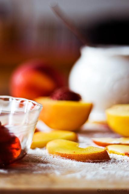 Nectarines in flour