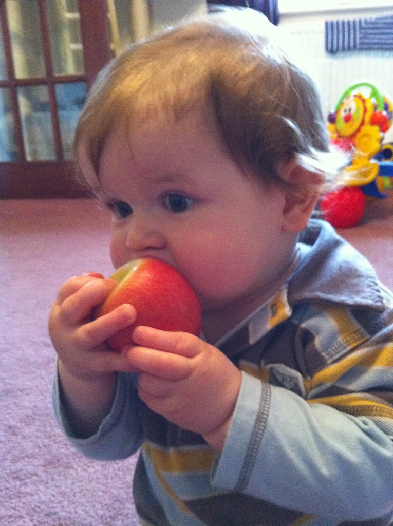 Owen tries his first apple