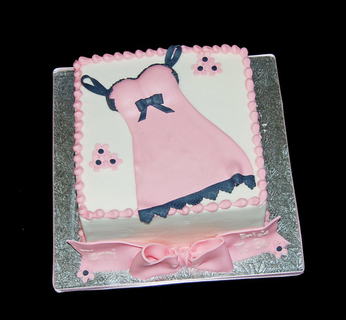 pink and black lingerie (one piece) bridal shower cake