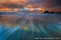 Swept Away (Kah Kit Yoong) Tags: newzealand seascape motion water sunrise dawn movement wave streaks westcoast capefoulwind westcaost