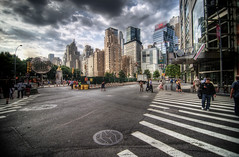 Columbus Circle, New York City (mudpig) Tags: street nyc newyorkcity people woman ny newyork man geotagged broadway stranger manhole crosswalk columbuscircle hdr centralparkwest 59thstreet mudpig stevekelley