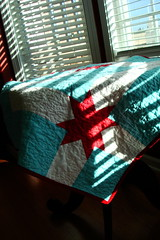 Aqua and Red Quilt (KMQuilts) Tags: red baby modern star aqua quilt