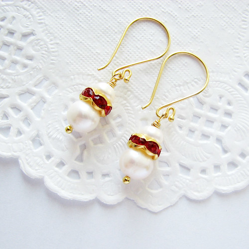freshwater pearl earrings on vermeil gold