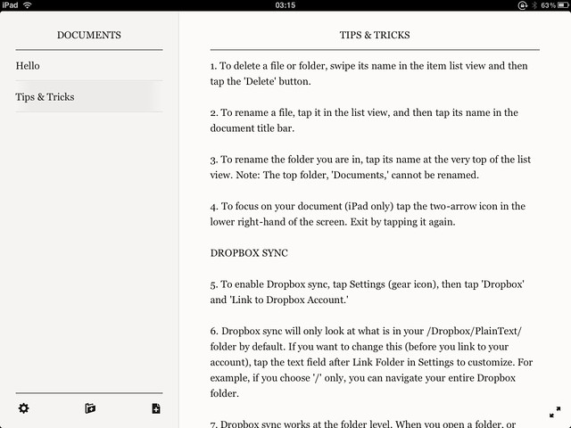 PlainText editor for your iPad