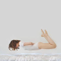 (Savannah Daras) Tags: portrait white fall feet self hair square ruffles fly bed bedroom toes bare dream floating minimal pale falling curly crop curled savannah float simple minimalistic comforter leotard listen levitate thealbumleaf daras wwwsavannahdarascom