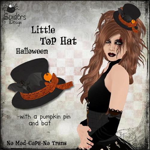 Little Tophat with Pumpkin Pin & Bat