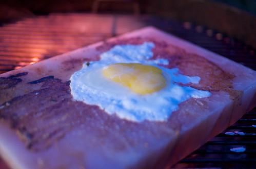 frying egg on salt block