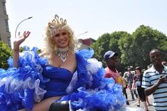 Queen in Blue (Lauren Barkume) Tags: africa blue gay portrait people lesbian southafrica march october dress african pride queen blond lgbt crown trans queer diva transgendered johannesburg joburg 2010 gblt rosebank zoolake laurenbarkume
