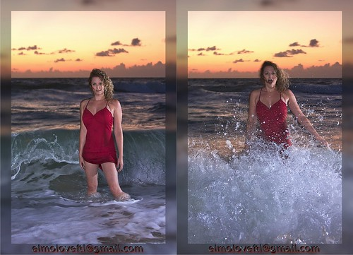 Rough Seas (Two Frames, Lauren Sharkey Hit By Wave)