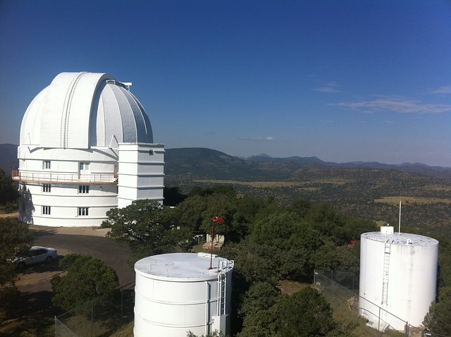 "View of the 82"" telescope's dome from the catwalk of the 107"""