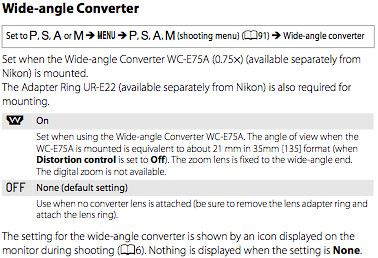 Using the WC-E75A wide-angle converter lens and UR-E22 adapter ring, as documented on page 104 of the Nikon P7000 manual