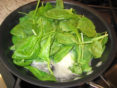 sautee-ing the spinach