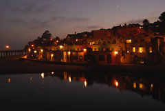 Capitola Venetian Night (AmyKClark!) Tags: reflection beach water night lights village capitola capitolavillage flickrchallengewinner herowinner