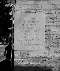 Cornerstone, Peden Warehouse, 700 N. San Jacinto, Houston, Texas 0925101243BW (Patrick Feller) Tags: peden warehouse houston historic building structure harriscounty texas demolished ironsteel ironmountain united states north america