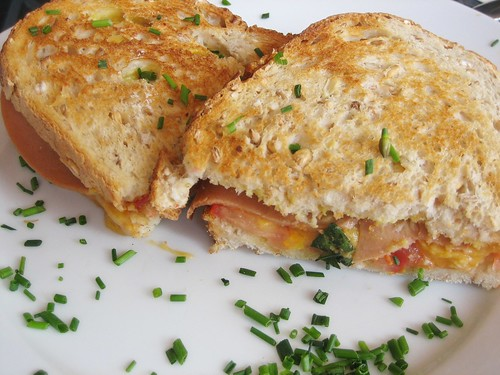 'ham' 'cheese' and tomato toasted sandwich