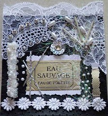 AS Eau sauvage (Karen Cattoire) Tags: original art texture leather collage blackwhite handmade lace embroidery mixedmedia creation angelina challenge beading dentelle dior parfum cuir paperbead perlage angelinafibers eausauvage karencattoire
