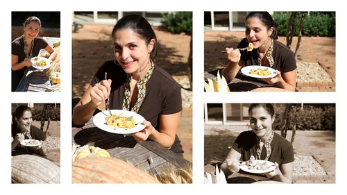 agnolotti di zucca (pumpkin ravioli) - me enjoying them!