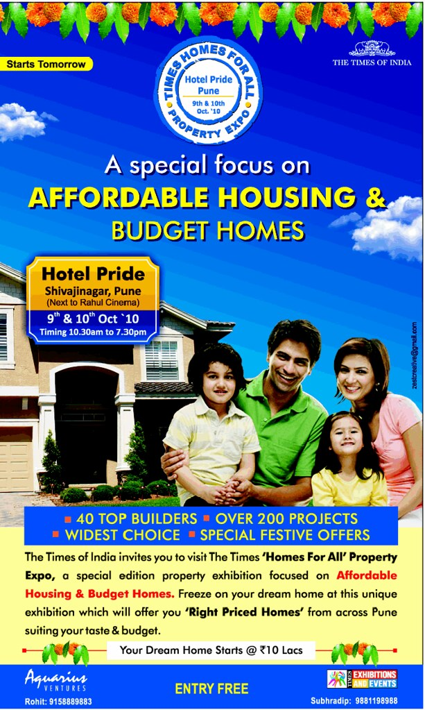 Times Homes for All - Pune Property Expo - 9th & 10th October 2010