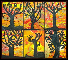 fall trees. (artsy_T) Tags: autumn trees red orange black art fall colors yellow warm elementary 3rdgrade elementaryart